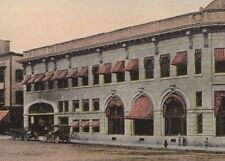 Vintage Postcard Auburn ME Shoe Leather Bank Building Old Cars Dirt Road