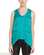 NWT $178 L BCBG MAXAZRIA SHIRT TOP BLOUSE Sexy Emerald Silk Tiiu Large 12