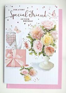Friend Birthday Card - Flowers Floral Vase Ladies Female - SIMON ELVIN