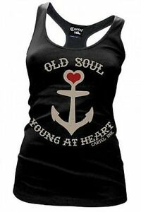 Cartel Ink Old Soul Young At Heart Tattoo Racer Back Womens Tee Shirt S-Xxl