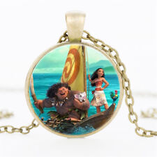 PRINCESS MOANA MAUI PUA PIG PICTURE GLASS PENDANT NECKLACE IN GIFT BAG GIRLS