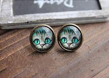 Women's Fashion Design Alice Cat Retro Stud Cat transparent Stone Earrings NEW