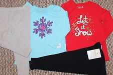 New! Girls 4 pc Outfit/Lot/Set (2 Shirts, 2 Leggings Let it Snow) - Size 24 mo