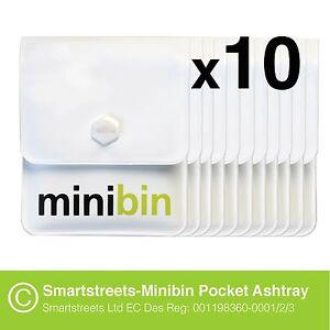 10 x Smartstreets-Minibin Pocket Ashtray  (portable pouch for cigarettes)
