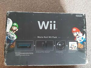 Nintendo Wii Black Console Bundle - Mario Kart Wii Pack - with mario kart game