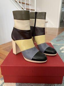 New Valentino Garavani Leather Colorblock Boots Size 38