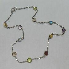 "14k White Gold Mix Gemstone Ankle Bracelet Anklet 9"""