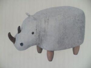 63cm Grey Rhino Leatherette Footstool Furniture