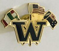 Italy America New Zealand World Flags Pin Badge Rare Vintage (J9)