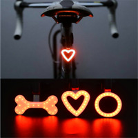 USB Rechargeable Bike Rear Tail Light LED Bicycle Warning Safety Smart Lamp ~~