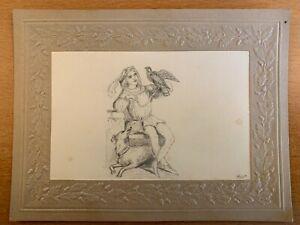 19th CENTURY ART FALCONER HUNTING DOG ORIGINAL FOLK ART DRAWING RENAISSANCE