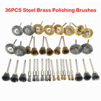 36Pcs Stainless Steel Brass Wire Wheel Polishing Pad Brush Set Kit Rotary Tool
