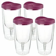 Insulated Wine Tumbler 4 Pack 10oz Red Drink Slide Lid Acrylic Adult Sippy Cup
