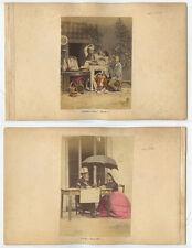 2 COLORED TINTED PHOTOS/SCENES - MAN, LADY + UMBRELLA/PASTA EATERS W/ WINE