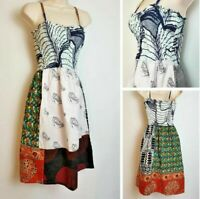 Vintage 90's Veritable Wax African Hippy Boho Strappy Handmade Summer Dress 10