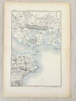 1881 Antique Military Map Portsmouth Naval Port Spithead Sandown Isle of Wight