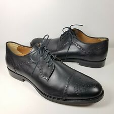 Johnston & Murphy Mens shoes oxfords Halford Black leather Cap-Toe 9.5