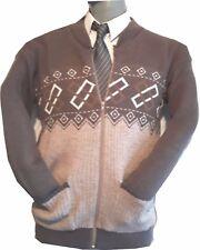 Mens ZIP Cardigan sweater Zipper Cardigans Jumper Grandad style S M L XL, 2XL