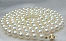"""8-9mm white round salt water Cultured pearl necklace 25"""""""