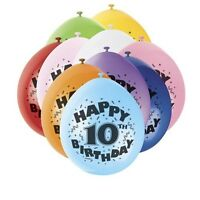 Pack of 10 Happy 10th Birthday Party Balloons Mixed Colours Air Fill Only