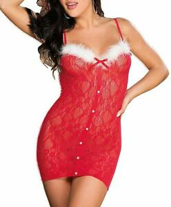 Shirley of Hollywood RED Sultry Santa Chemise, US One Size Fits Most
