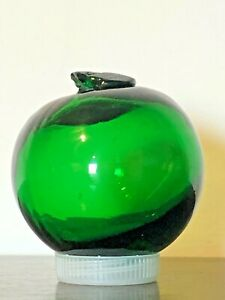 Vintage BLOWN GLASS Emerald Green FISHING FLOAT Japan? NAUTICAL