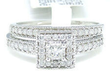 10k White Gold Princess Cut Engagement Bridal Solitaire Halo Band Diamond Ring