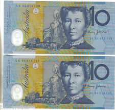 1994 Ten Dollar $10 Blue Dobell GREY SHADING. From a bank pack. UNC Buy a Pair!