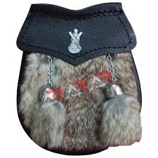 Sporran Belt New Brand AAR  St Andrew Badge  Baby Sporran Grey Fur color Brown