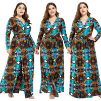 Women Long Sleeve Maxi Dress V-Neck High Waist Holiday Beach Sundress Party Gown