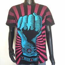 Obey Mens Short Sleeve Graphic Tee Shirt Size Large Black Crew Neck Made In USA