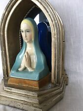 Antique Lenci Art Pottery Deco Madonna Figurine And Altar