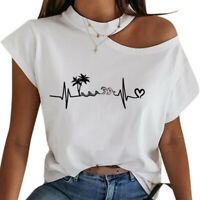Womens One Shoulder  Blouse Ladies Short Sleeve Casual Loose Shirt Tops T-Shirt