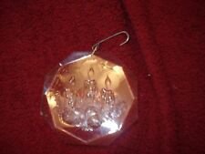 Vtg Acrylic Christmas Ornament Sprigs of Fir Tree Ball Decorations & Candles 3""