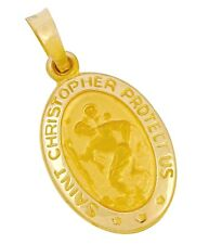 Saint Christopher Protect Us Oval Pendant in 14k Real Yellow Gold