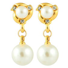Clip On Chic Cream Ivory Pearl Crystal Rhinestone Dangle Drop Gold GP Earrings