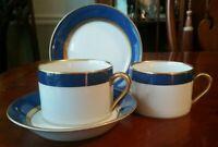 Fitz & Floyd Renaissance Cerulean Blue Cups & Saucers (2 sets, lot of 4)