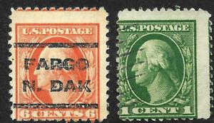 Misperf EFO Washington Franklin 2-6 Cent Untyped US 72D21