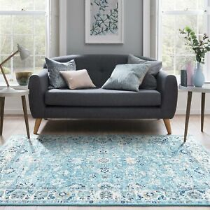 Floor Rug Aqua Teal Floral Carpet Persian Flat Traditional Vintage Easy Clean TY