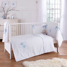 NEW CLAIR DE LUNE BLUE STARDUST COT / COT BED 3 PIECE BEDDING BALE SET