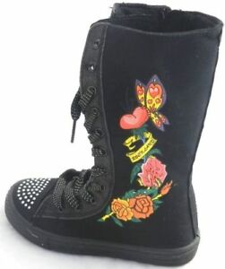 Infant Girl Kids Canvas Knee High Lace up Notorious Shuffles Skater Boots