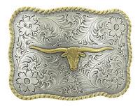 Longhorn Steer Western Gold/Silver Metal Belt Buckle