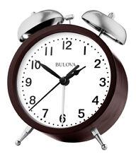 Bulova Analog Quartz Bent Wood Espresso Bell Alarm Clock B5026