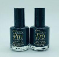 Nina Ultra Professional Salon Formula Nail Polish Lacquer Black Lot of 2