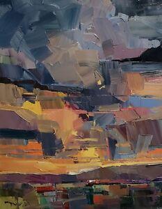 JOSE TRUJILLO Oil Painting IMPRESSIONISM 16x20 Sunset Expressionism Clouds ART