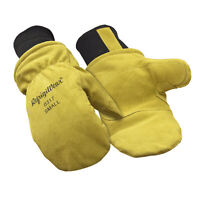 RefrigiWear Warm Fleece Lined Fiberfill Insulated Cowhide Leather Mitten Gloves