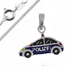 Kinder Anhänger Polizei Auto mit Kette -925er Sterling Silber- farbig lackiert