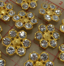 "12 Czech multi matte gold metal clear rhinestone shank buttons 1"" 26mm #711"