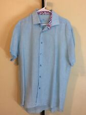 Mens Bertigo Turquoise Short Sleeve Linen Shirt L/XL
