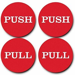 """2"""" Round Push Pull Door Signs (Red) - 2 sets (4pcs)"""